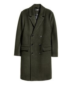 Dobbeltradet frakke i uldmix | Mørk kakigrøn | Herre | H&M DK