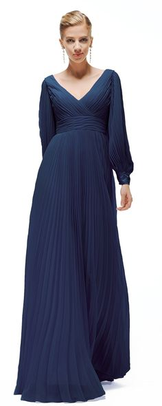 Modest navy blue mother of the bride dress long sleeves mother of the groom dress plus size formal gowns