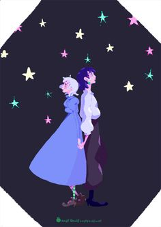 I wanted to make a simple gif of Howl and Sophie looking at the stars :), I really enjoyed making this tiny animation #ghibli #howlsmovingcastle
