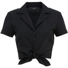 Hallhuber Cotton tied hem top with short sleeves found on Po Collared Shirt Outfits, Black Collared Shirt, Short Sleeve Collared Shirts, Black Short Sleeve Tops, Black Crop Tops, Collar Shirts, Short Sleeve Blouse, Short Sleeves, Short Tops