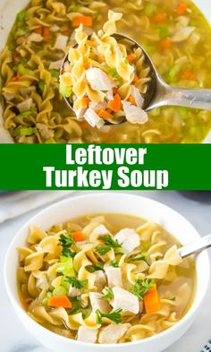 Leftover Turkey Soup - the perfect soup to use up all that leftover turkey from the holidays! It is full of veggies, herbs, and noodles for a hearty, delicious and comforting meal. Best Soup Recipes, Chili Recipes, Lunch Recipes, Crockpot Recipes, Dinner Recipes, Vegan Lentil Soup, Vegetarian Soup, Leftover Turkey Soup, Quick And Easy Soup
