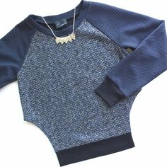 "NWT Greylin Side Cutout Sweatshirt + Tweed Sweater This sweater does chic & comfortable all at once! Greylin graphically knit cotton long raglan sleeve sweater features raglan sleeve, graphic details, contemporary fit, rounded neck, side slit. Navy blue & black basketweave on arms & collar, blue & gray tweed down body and black cuffs at sleeves and hem. Deep side cutout. Layer over a silk shirt for an easy yet sharp look! Sample size Small Measurements: bust 37"", sleeves from shoulder 29""…"