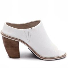 Solsana White Leather Mule Heels Solsana white leather mules! Size 37! NO TRADES Solsana Shoes Heels