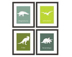 Dinosaur Nursery Art Print Choose Colors Kids by twowhiteowls
