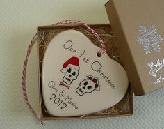 Personalized Porcelain Heart Ornament  Our 1st by aphroditescanvas, $28.00