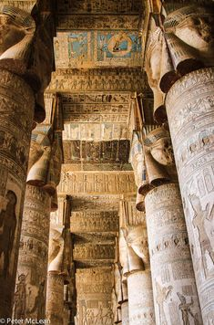 Temple of Horus at Edfu where restoration work has revealed some of the most beautiful ceilings to be seen Egypt