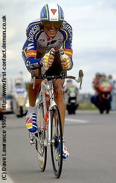 Miguel Indurain during the historic Luxembourg time trial in the 1992 Tour de France