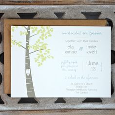 Wedding Invitations . Wedding Invites . Rustic Wedding Invitations . Wedding Invitations . Tree Invitations - Love You Forever. $2.50, via Etsy.