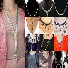 NT Fashion Women MultiLayer Long Pearl Necklace Pendant Sweater Chain Jewelry  | eBay