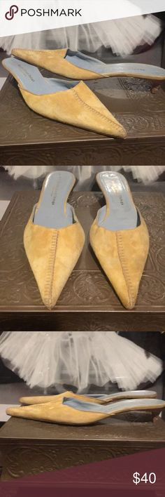 Really Great things mules Gently used twice yellow mustard color 1.1/2'in kitten heel pointy soft suede says size42 but they fit like a perfect 10 10.1/2 made in Italy soft leather Really Great Things made in Italy Shoes Mules & Clogs