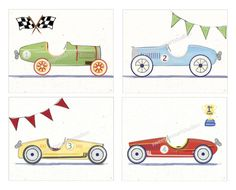 Vintage  Retro Race Car Art Print Set