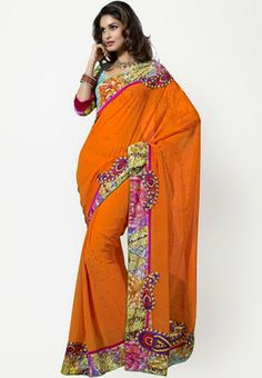 Triveni Sarees Embroidered Orange Saree