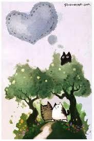 Resultado de imagen para chinese cat lucky watercolor