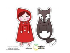 Cute little red riding hood. The animal may be a wolf, but it could also be used as a fox or a badger. Red Riding Hood Party, Red Ridding Hood, Paper Flower Patterns, Bookmark Printing, Cute Bookmarks, Book Markers, Creative Gift Wrapping, Mail Art, Book Making
