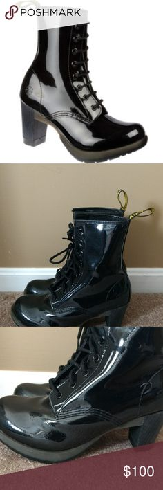 "Dr. Martens Women's Darcie Black Patent Boots Sz 9 Dr. Martens Women's Darcie Black Patent Leather Dee Diva Heel Boot US 9 EU 41  Very good used condition, slight scuffing on the inside of the boots as shown, lightly worn.   In patent leather upper, this women's ankle boot offers a head-turning update on classic granny-boot style. Adjust the 8-eye lace closure for a snug, ankle-hugging fit. AirWair pull-on tab Approx. 3¼"" heel height Approx. 1"" platform height Cushioned footbed Fabric lining…"