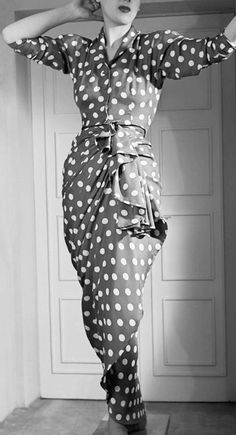 Draped strapless dress and waist length jacket by Balenciaga 1946
