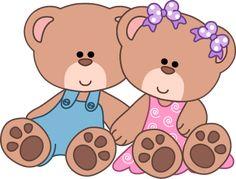 Cute Teddy Bear Clip Art | Baby Girl Teddy Bear Clip Art Girl & boy bears sitting