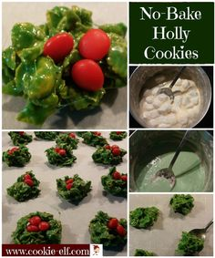 No-Bake Holly Cookies: a fun and easy kids Christmas cookie recipe from The Cookie Elf. Looks fun on a Christmas cookie tray! Cookie Recipes For Kids, Easy Christmas Cookie Recipes, Cookies For Kids, Christmas Desserts, Holiday Treats, Christmas Treats, Holiday Recipes, Christmas Goodies, Christmas Cookies Kids