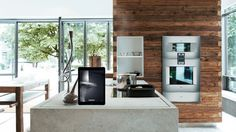 wood and concrete in kitchen