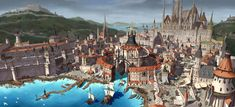 Medieval port city level design, 재 혁 Fantasy Town, Fantasy World Map, Fantasy Castle, Fantasy House, Fantasy Places, Medieval Fantasy, Landscape Concept, City Landscape, Fantasy Landscape