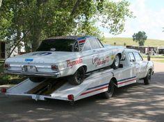 1965 Plymouth Racer / ready to travel Toy Hauler Trailers, Car Trailer, Dodge Trucks, Big Trucks, Tow Truck, Car Man Cave, Classic Race Cars, Nhra Drag Racing, Car Camper
