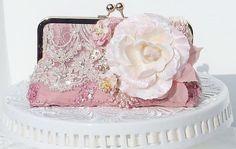 Vintage Wedding / Pink Wedding / Clutch / French Vintage/  Downton Abbey / Bridal Handbag / Farmhouse Wedding