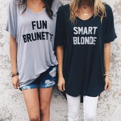 how cute for the bestie and you! fun brunette T-shirt smart blonde T-shirt!