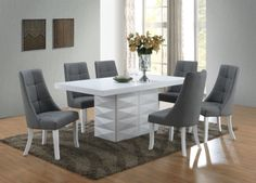 Kings Brand 7 Piece White Modern Dinette Dining Room Table with Grey Chairs