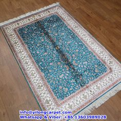 B02 4' x 6' Persian Rug, Silk Face and Silk Fringe, 324kpsi Handmade Rug Made By Yilong Carpet. Color: Light Blue, Red, Pink, Light Orange, White etc. Leaf with Flower Pattern.