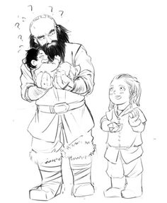 Mr. Dwalin being taught how to hold baby Kili by little Fili