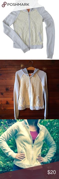 Free people hoodie Free people light Gray hoodie with beautiful cream lace overlay. Size medium. Body is 100% cotton, hood is acrylic cotton mix, and lace is cotton polyester mix. Pockets! Slight pilling on hood from wash, this hoodie is in great used condition.  Bundle for discount! Free People Tops Sweatshirts & Hoodies