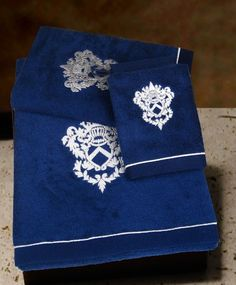 $85.00 European Made Towels Set & Wash Mitt, 4-pieces, Roma Collection in Navy Blue-Silver decoration  From Armani International   Get it here: http://astore.amazon.com/ffiilliipp-20/detail/B000FK75WQ/175-4921684-1457108
