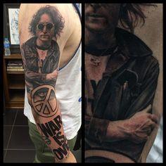 john lennon war is over sleeve by John Anderton at Nemesis Tattoo Studio, North East UK