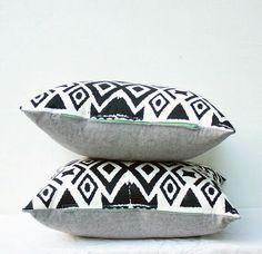 Black and white boho - ikat hand printed pillows