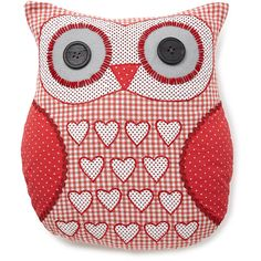 Gingham Owl Cushion ❤ liked on Polyvore featuring home, home decor, throw pillows, owl throw pillow, owl home decor, owl home accessories and gingham throw pillows