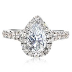 Platinum Split Shank Pear Shape Design Engagement Ring Mounting | Washington Diamond | Falls Church, VA