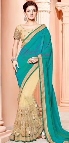Pearl Work Saree Blue Georgette Bollywood Designer SF3241D18737