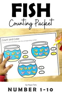 If you're looking for Preschool Fish Activities, this exciting Fish Bowl Counting Printable is perfect for you!    Great as One Fish, Two Fish book companion activity.This printable is about Counting 1-10 activities for preschool, pre-K, and Kindergarten.    Perfect for take-home packet, distance learning, morning tubs, and early finisher.