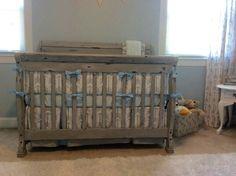 DIY refurbished baby crib. Annie Sloan chalk paint. Paris Gray. With gray and white arrow print bedding. Nursery