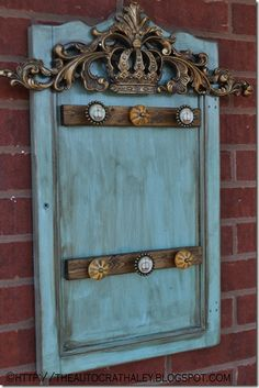 The Autocrat :: cabinet door turned into NECKLACE HOLDER Knobs, Upcycled door, faux finish, turquoise