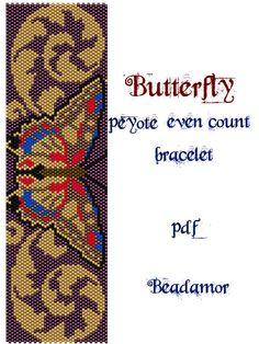 Peyote Pattern for bracelet: Butterfly INSTANT by Beadamor
