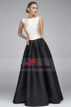 2017 New Mother Of The Bridal Dresses A-Line Scoop Floor-Length Satin Black Skirt Zipper Back