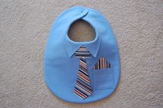 Sewing Baby Gift Shirt and Tie Bib with Pocket Square--Dressed for Success - Baby Bibs Patterns, Adult Bibs, Easy Baby Blanket, Bib Pattern, Baby Sewing Projects, Quilt Baby, Baby Shirts, Sewing A Button, Baby Crafts