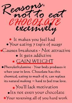 Oh god, chocolate is so high calorie!
