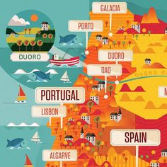 Super clean and bright graphics on this #illustratedmap of Portugal by @neil_a_stevens  a truly great illustrator. by theydrawandtravel