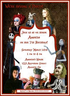 Tim Burton Themed Birthday party Invitation with Nightmare B4 Christmas, BeetleJuice and Alice in Wonderland by AnnMarieDsgns on Etsy