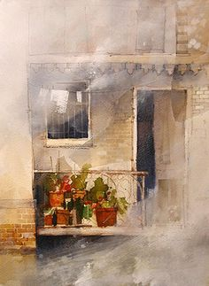 Paint the painting, and then use Gesso to create interest and draw attention to specific detail.  Use graphite pencil & line brush to add back in minor details.  John_Lovett: Waterside Balcony Demonstration (2 of 2)