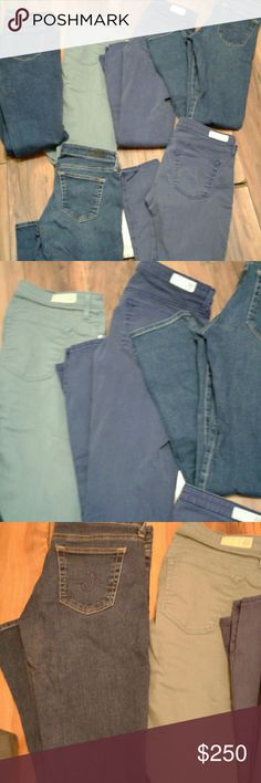 Bundle AG Stevie Ankle Jeans 6 pairs 26 and 27 waist all different COLOR mostly 3blue denim in fairly good condition make offer all same style AG Adriano Goldschmied Jeans