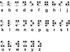 Braille - a tactile (touch-based) system of written language that features patterns of raised dots to represent letters of the alphabet, common words and Alphabet Code, Braille Alphabet, Alphabet Symbols, Alphabet Letters, Geocaching, Love Tattoos, Tatoos, Alfabeto Braille, Boy Scouting