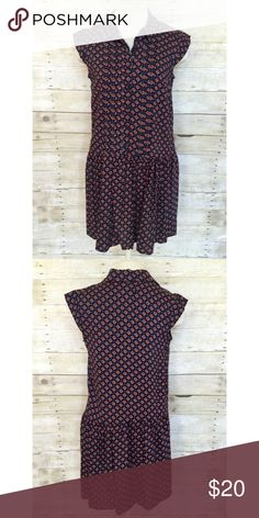 NWT Mossimo drop waist dress Medium NWT Mossimo collared drop waist dress with button front. 100% rayon. Falls above knee. Brand new with tags. Navy and orange motif. Medium. Mossimo Supply Co Dresses Midi